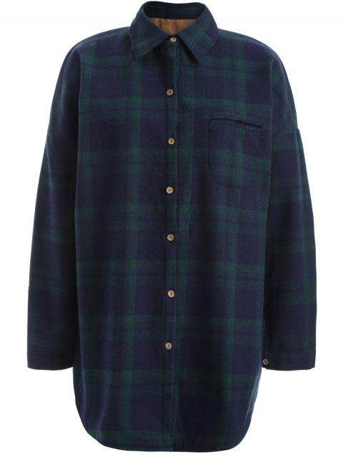 Plus Size Plaid Fleece gefüttert Shirt - Grün 4XL Mobile