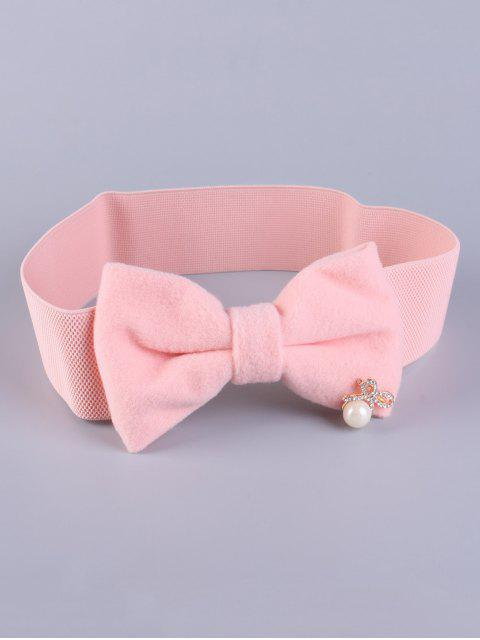 buy Faux Pearl Bowknot Stretch Belt - SHALLOW PINK  Mobile