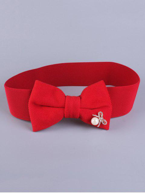 Faux Perle bowknot Ceinture stretch - Rouge  Mobile