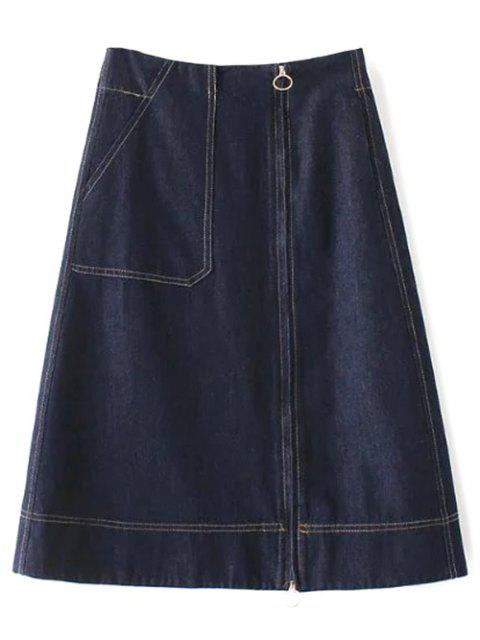 online Zippered A Line Jean Skirt -   Mobile