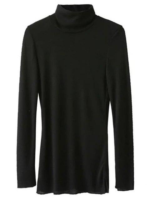shop High Neck Long Sleeve Basic Tee - BLACK L Mobile