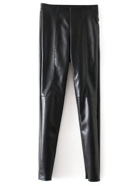Pantalon en faux-cuir à jambes étroites - Noir L Mobile