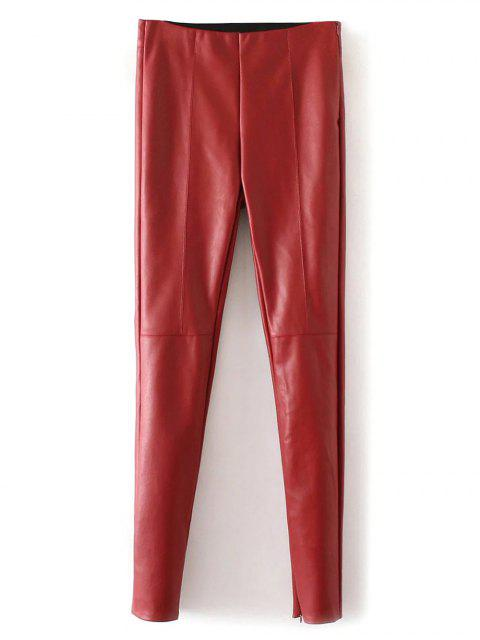 fashion Skinny PU Leather Narrow Feet Pants - RED L Mobile