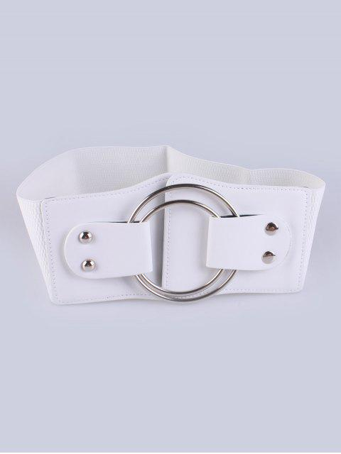 shop Faux Leather Double Circle Stretch Belt - WHITE  Mobile