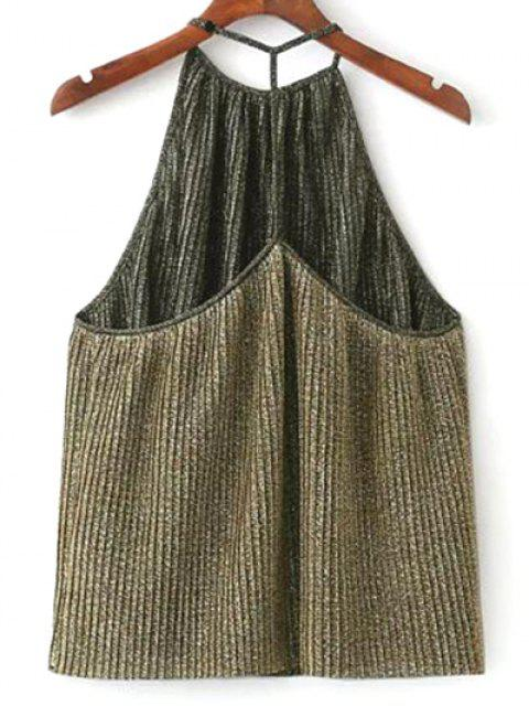 ladies Shiny Pleated Halter Top - GOLDEN L Mobile