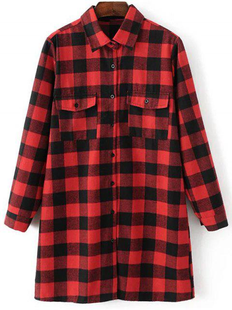 shops Long Sleeve Checked Boyfriend Shirt - RED M Mobile