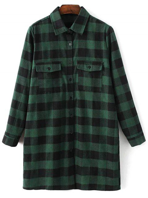 trendy Long Sleeve Checked Boyfriend Shirt - GREEN L Mobile