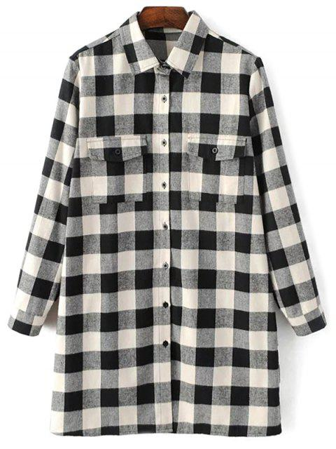 affordable Long Sleeve Checked Boyfriend Shirt - WHITE AND BLACK L Mobile