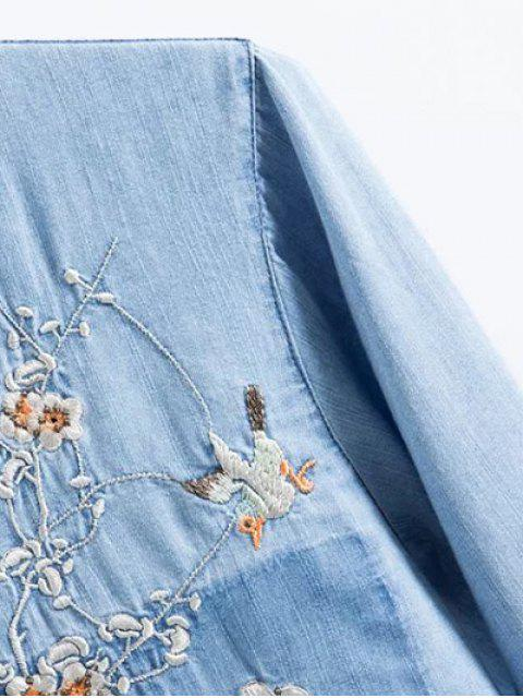 shop Floral Bird Embroidered Denim Shirt - LIGHT BLUE M Mobile