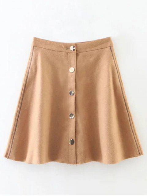 shops Winter Button Up A Line Skirt - CAMEL M Mobile