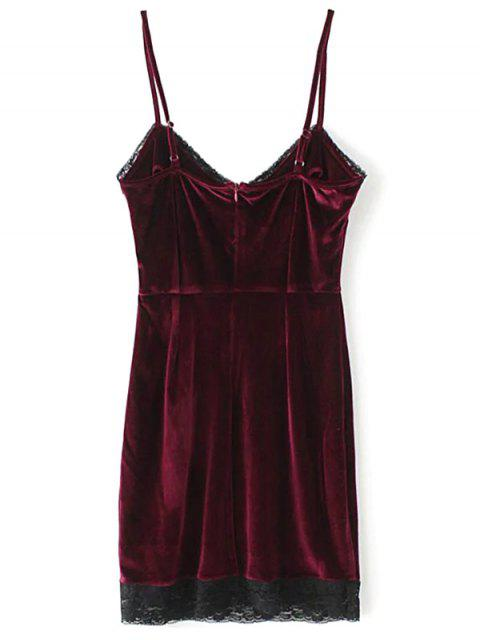 best Lace Panel Pleuche Mini Cami Dress - BURGUNDY L Mobile