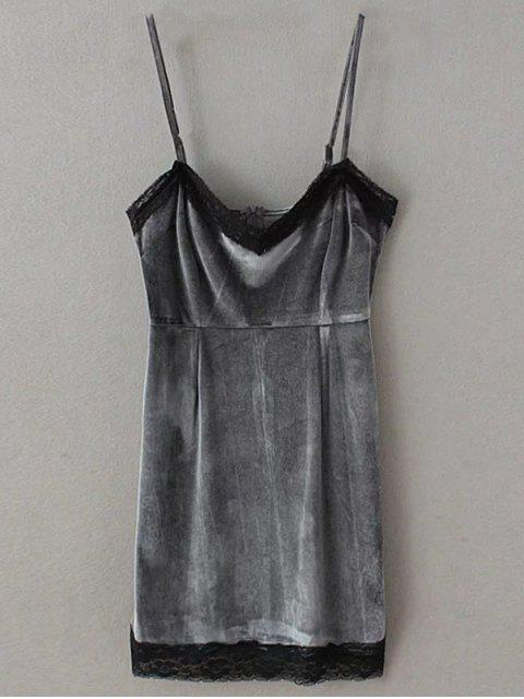 outfits Lace Panel Pleuche Mini Cami Dress - GRAY S Mobile