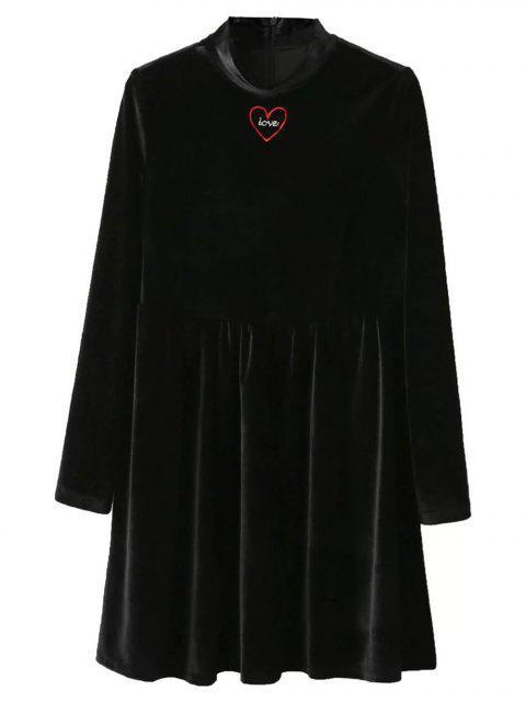 shop Mock Neck Velvet Flare Dress - BLACK S Mobile