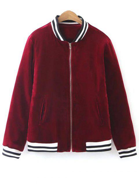 trendy Quilted Velvet Bomber Jacket - BURGUNDY M Mobile