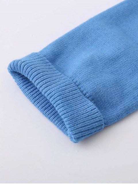 outfits Asymmetric Neck Pullover Jumper - BLUE ONE SIZE Mobile