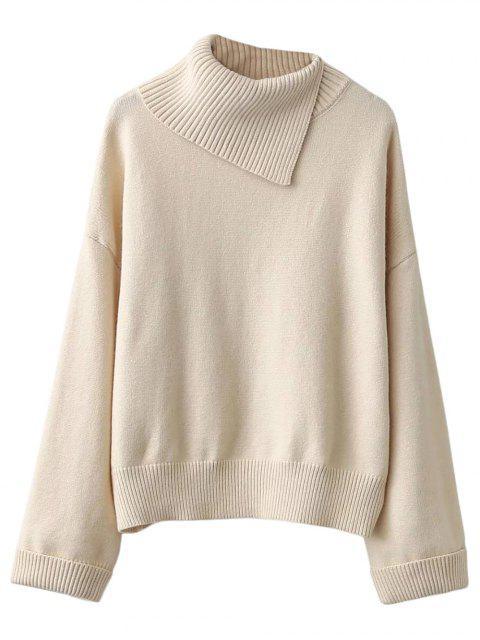 shop Asymmetric Neck Pullover Jumper - OFF-WHITE L Mobile