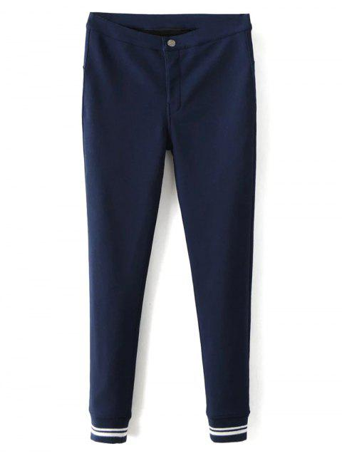affordable Fleece Lined Slim Pants - DEEP BLUE S Mobile