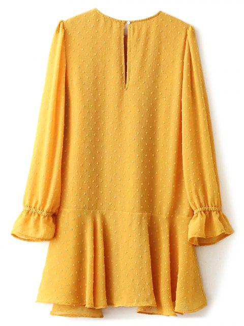 unique Dotted Round Neck Ruffles Shift Dress - YELLOW L Mobile