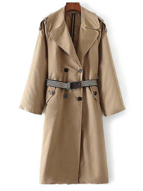 ladies Wide Lapel Double Breasted Trench Coat - KHAKI L Mobile