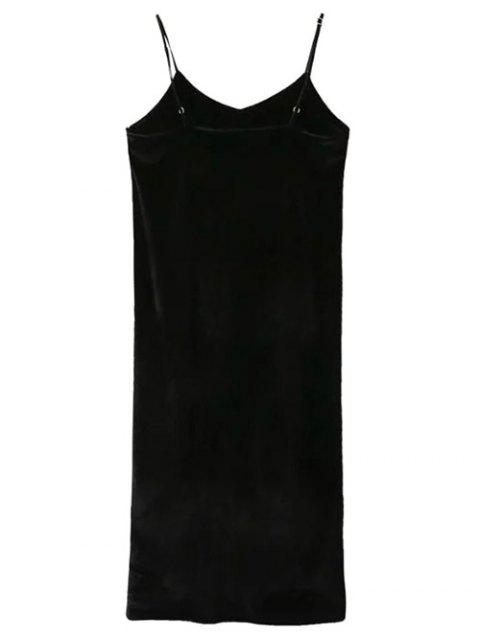 affordable Pleuche Slip Dress with Letter Tee - WHITE AND BLACK L Mobile