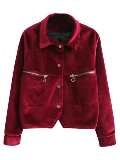 shop Graphic Embroidered Zipper Pocket Velvet Jacket - RED L Mobile