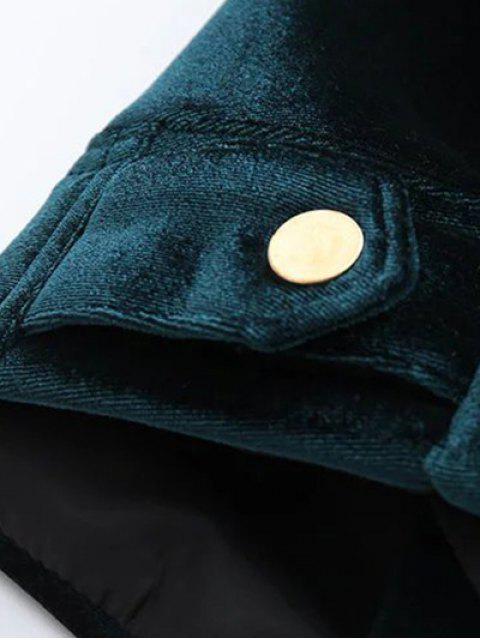 fashion Graphic Embroidered Zipper Pocket Velvet Jacket - ROYAL M Mobile