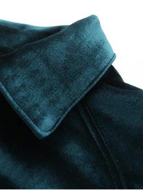 fancy Graphic Embroidered Zipper Pocket Velvet Jacket - BLACKISH GREEN L Mobile