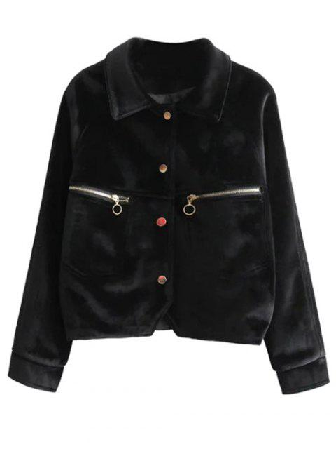 outfits Graphic Embroidered Zipper Pocket Velvet Jacket -   Mobile