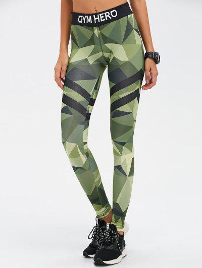 Stretchy Camo Print Gym Leggings - Camouflage Color S
