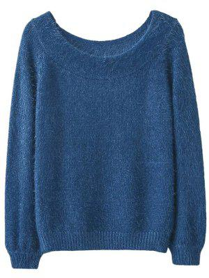 Off Shoulder Fluff Knitwear - Blue