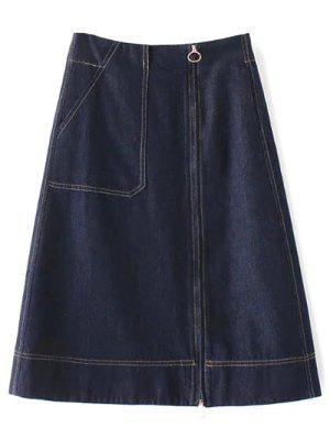 Zippered A Line Jean Skirt - Deep Blue M