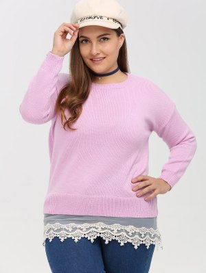 Lace Insert Crew Neck Plus Size Sweater - Pink 3xl