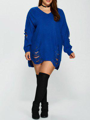 Plus Size Distressed Longline Pullover Sweater - Blue 2xl