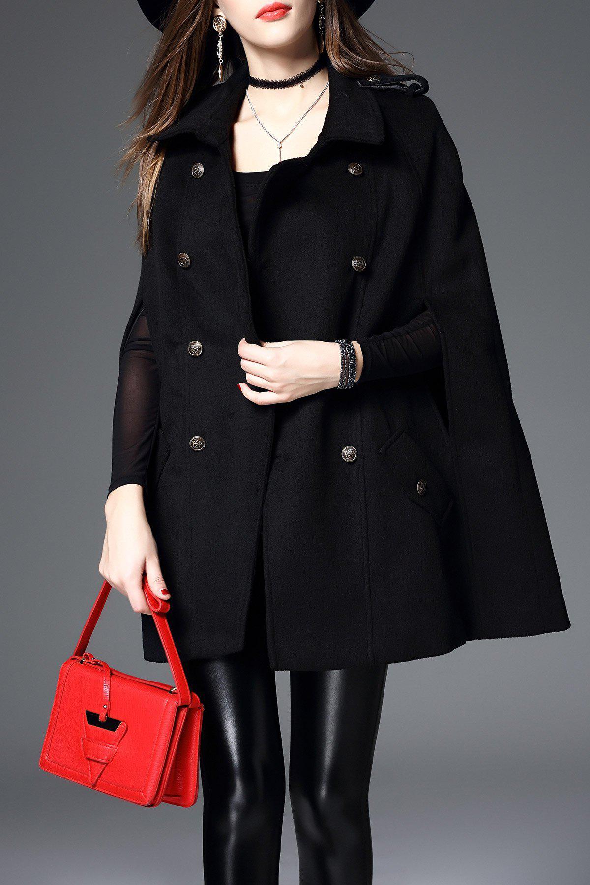 Cashmere Blend Cape Coat, Black