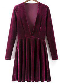 Velvet A-Line Dress - Wine Red S