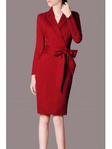 Vestido Largo Del Lápiz Del Algodón De La Manga - Rojo Oscuro S
