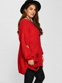 9f917f69690 30% OFF  2019 Plus Size Distressed Longline Pullover Sweater In RED ...
