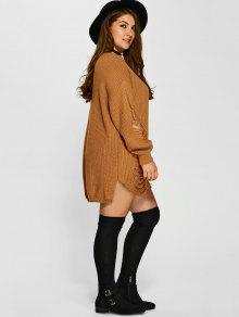 2019 Plus Size Distressed Longline Pullover Sweater In Earthy Xl Zaful