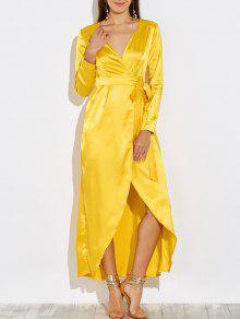 فستان ماكسي طويل، من الدانتيل ومزين بالترتر - الأصفر S