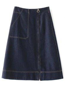 Zippered A Line Jean Skirt - Deep Blue M