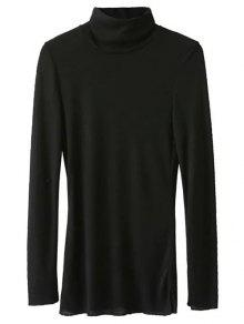 High Neck Long Sleeve Basic Tee - Black L