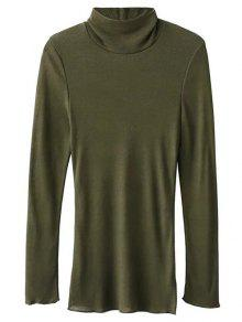 High Neck Long Sleeve Basic Tee - Army Green S