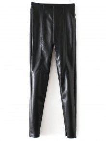 Flaco Pantalones De Cuero De La PU Estrecha Pies - Negro L