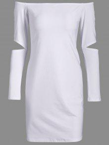 Off The Shoulder Long Sleeve Bodycon Dress - White M