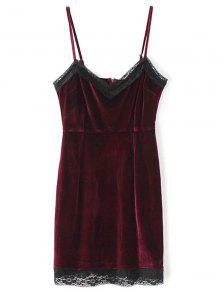 Lace Panel Pleuche Mini Cami Dress - Burgundy S