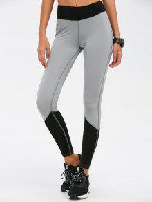 Leggings Yoga Del Bloque Del Color De Talle Alto Flaco - Negro L