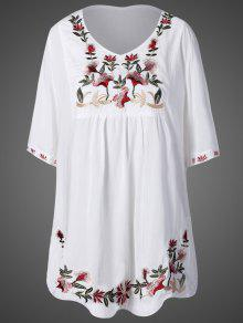 Embroidered Bib Maternity Dress