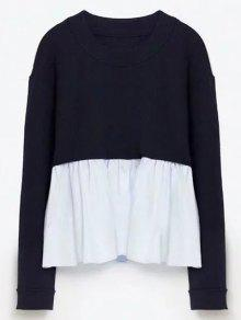 Round Neck Ruffles Panel Sweater - Purplish Blue M