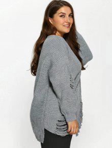 991a5d1fa56 30% OFF  2019 Plus Size Distressed Longline Pullover Sweater In GRAY ...