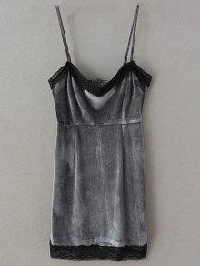 Vestido Mini De Tirante Fino De Pleuche Con Panel De Encaje - Gris S